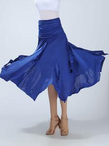 Vestido de dança de salão Saia Maxi de desempenho azul real feminino