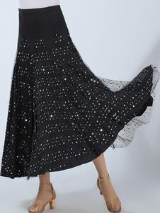 Vestido de dança do salão de baile Saia maxi do desempenho das lâminas pretas das mulheres