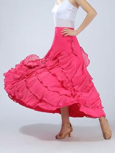 Vestido de dança de salão Saia Maxi de desempenho vermelho feminino