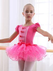 Costume Carnevale Costume da ballo balletto elegante Allenamento ballerina per bambini monocolore abito con fiocchi
