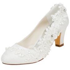 العاج أحذية الزفاف الحرير جولة تو الزهور مطرز مضخات كعب منخفض الزفاف