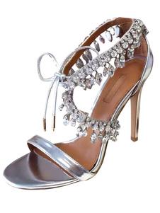 Вечерние платья для обуви Высокие каблуки Серебряные стразы зашнуровать стилетные сандалии с каблуком