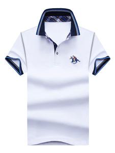 Maglietta polo casual cotone maniche corte ricamata monocolore uomo con colletto abbigliamento giornaliero