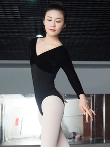 الباليه الرقص يوتار زي المرأة السوداء القطيفة كم طويل Bodysuit