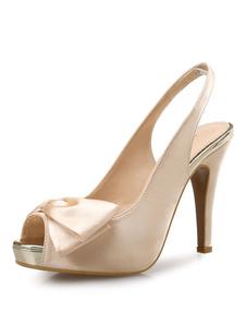 Sandálias com laço Verão Sandálias de salto stiletto Sola de Antiderrapante Borracha dedo do pé peep de cetim