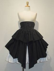 القوطية لوليتا التنورة SK القطن الدانتيل متابعة الكشكشة مطوي تنورة سوداء لوليتا