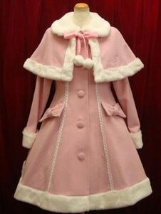 Chaquetas de Lolita Lana Llana de cuello vuelto con manga larga de color-blocking con botones