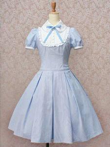 Классическое платье Lolita OP Светло-голубое платье с коротким рукавом из хлопка Lolita One Piece