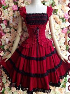 Vestido sem mangas Festa de Chá gótica de 100% algodão com dois tons Vestido de alça vermelha sem mangas