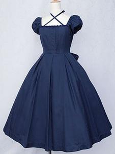 Платье из темно-синего лолита OP Classic с коротким рукавом из хлопка Lolita One Piece Dress