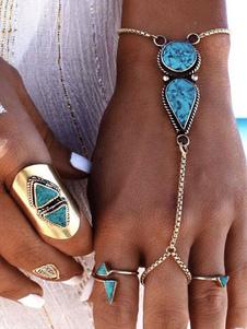 Синий браслет Браслет Бохо Ювелирные цепи Серебряный браслет для женщин