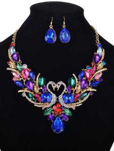 Set de joyas de metal azul Pendientes Corchete de la langosta cristal de lujode animal para baile para mujer