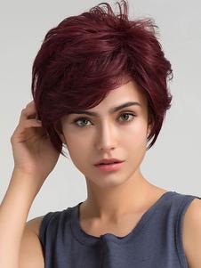 Pelucas de cabello humano de rojo oscuro Pixies & Boycuts estilo moderno 8 inches