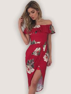 Vestido de verano de poliéster con estampado de flores con volante fruncido con manga corta Atractivo con escote de hombros caídos