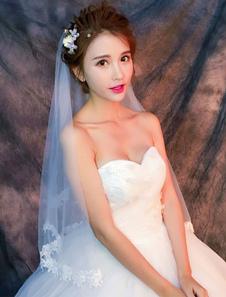 الزفاف الحجاب الزفاف زين زين حافة 1 الطبقة العاج الكوع طول الحجاب
