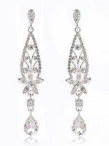 Свадебные серьги с бриллиантами из бисера