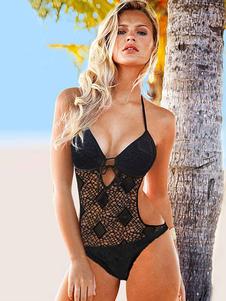 Monokini de fibra acrílica negro con escote halter adornado con encaje con cordones estilo de playa