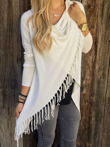Casaco de Malha gola dobrada com franja com mangas compridas de algodão misturado Artigos Mais Vendidos