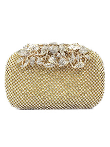 Bolso de novia de lujo para fiesta formal con pedrería Cierre de beso Diamante de imitación
