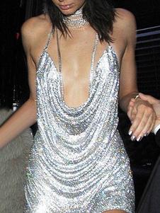 Vestito da Club 2020 D'oro Halter Scollo Profondo Senza Maniche Paillettes Abiti Aderenti da Donna