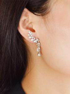 Brincos de moda de metal para mulher chique & modernos Asas de Anjos Furado argola com diamante de limitação
