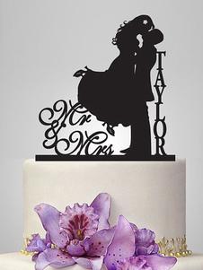 Decoración de pastel de fibra acrílica negra estilo clásicopara boda Invierno