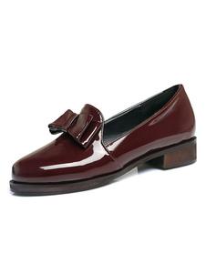 Женщины Бургундии Loafers Круглый Toe Bow Slip On Flat Shoes