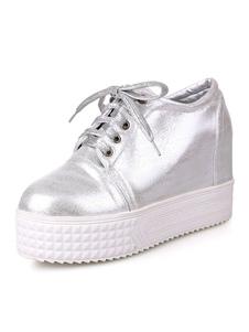 Zapatos de puntera redonda con cinta de PU Planos Color liso estilo informal Invierno para ocasión informal