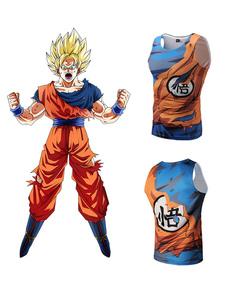 Anime T-shirt Dragon Ball de poliéster laranja masculina  Halloween