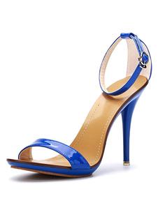 Sandálias Verão Salto Alto de salto stiletto Sola de Borracha dedo do pé aberto de PU