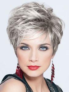 Pelucas de cabello humano de gris claro Pixies & Boycuts estilo moderno