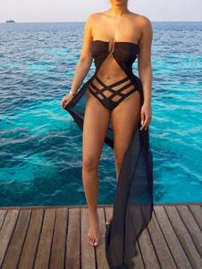 Черный обложка Ups без бретелек без рукавов шифон полужирные женские длинные купальники