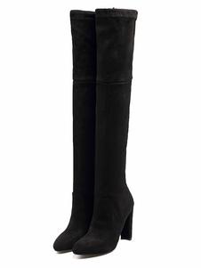 Бедро высокие сапоги с острым носком