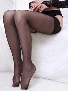 Calze sexy nere di poliestere per donne parzialmente trasparenti monocolore