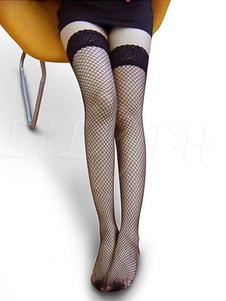 Calze sexy di poliestere per donne a rete con pizzo