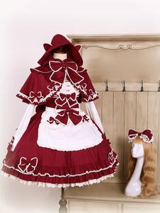 Рококо Лолита JSK Jumer Юбка Луки с длинным рукавом Мышиный воротник Frills Линия Бургундии Лолита платья