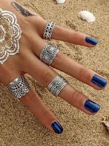 Винтажные кольца Knuckle Этническое тиснение Серебряное кольцо, установленное в 4 частях