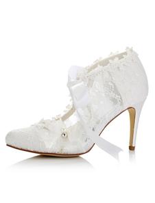 أحذية الزفاف الأبيض الدانتيل أشار تو الرباط حتى الخنجر الكعوب العالية