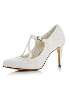 العاج أحذية الزفاف وأشار الساتان تو T نوع مشبك التفاصيل الكعب العالي