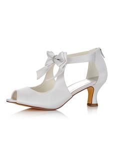 أحذية الزفاف الأبيض الساتان اللمحة تو القوس الرمز البريدي أحذية الزفاف للنساء