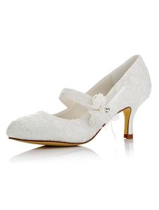 العاج أحذية الزفاف الدانتيل جولة تو الزهور التفاصيل هريرة كعب ماري جين أحذية الزفاف
