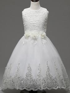 Белая цветочная девушка платья Принцесса кружева блестки лента лук тюль аппликация детей Пейнт платья