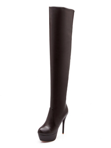 Бедро высокие сапоги Высокий каблук Черная платформа Slip на более колен сапоги для женщин