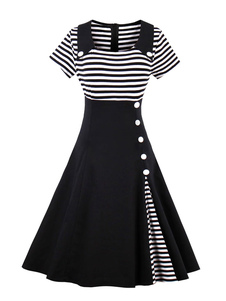 Vestido vintage com botões No Built-in Bra com mangas curtas clássico retro