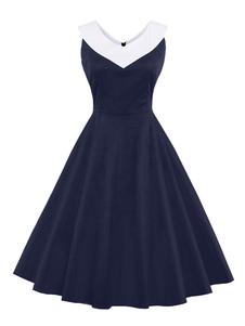 Vestiti Anni 50 bicolore Abiti donna smanicato abiti anni 50 Blu scuro  con scollo tondo di poliestere Estate Primavera Autunno di retro'