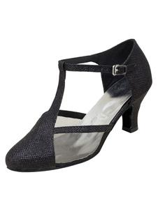 Блестящие бальные туфли Black Round Toe T Тип Танцевальная обувь для женщин