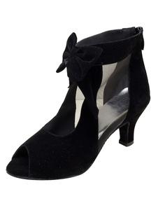 Бургундия Танцевальная обувь Женская обувь Peep Toe Spool Heel Suede Bows Танцевальная обувь
