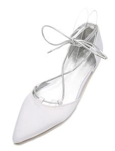 أحذية الزفاف الأبيض الساتان واشار تو الرباط حتى أحذية الزفاف المسطحة