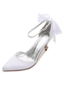 أحذية الزفاف الأبيض الحرير أشار تو القوس هريرة كعب أحذية الزفاف للنساء