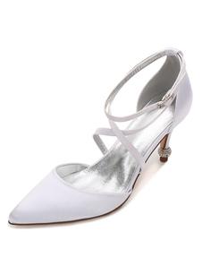 calçado para mulher com diamante de limitação Romântico Baixo Sapatos dedo do pé pontiagudo